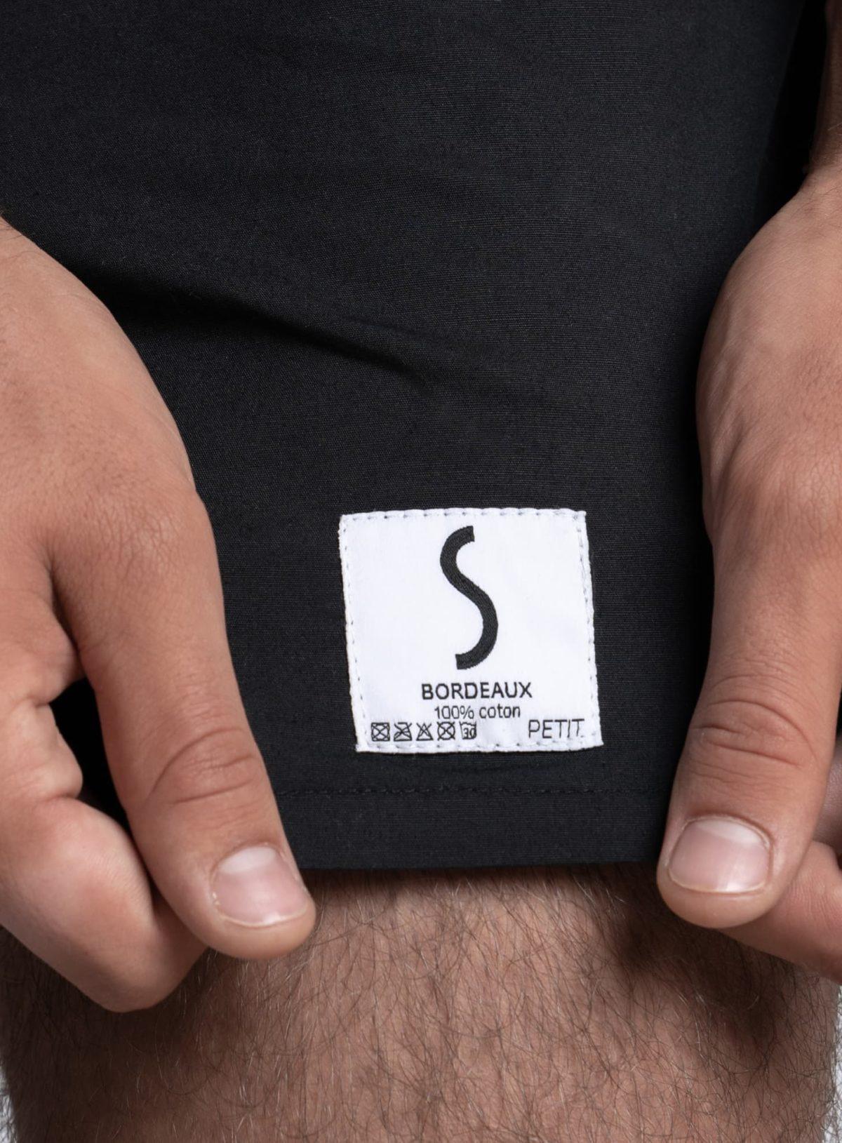 Zoom sur l'étiquette du caleçon noir pour homme S BORDEAUX