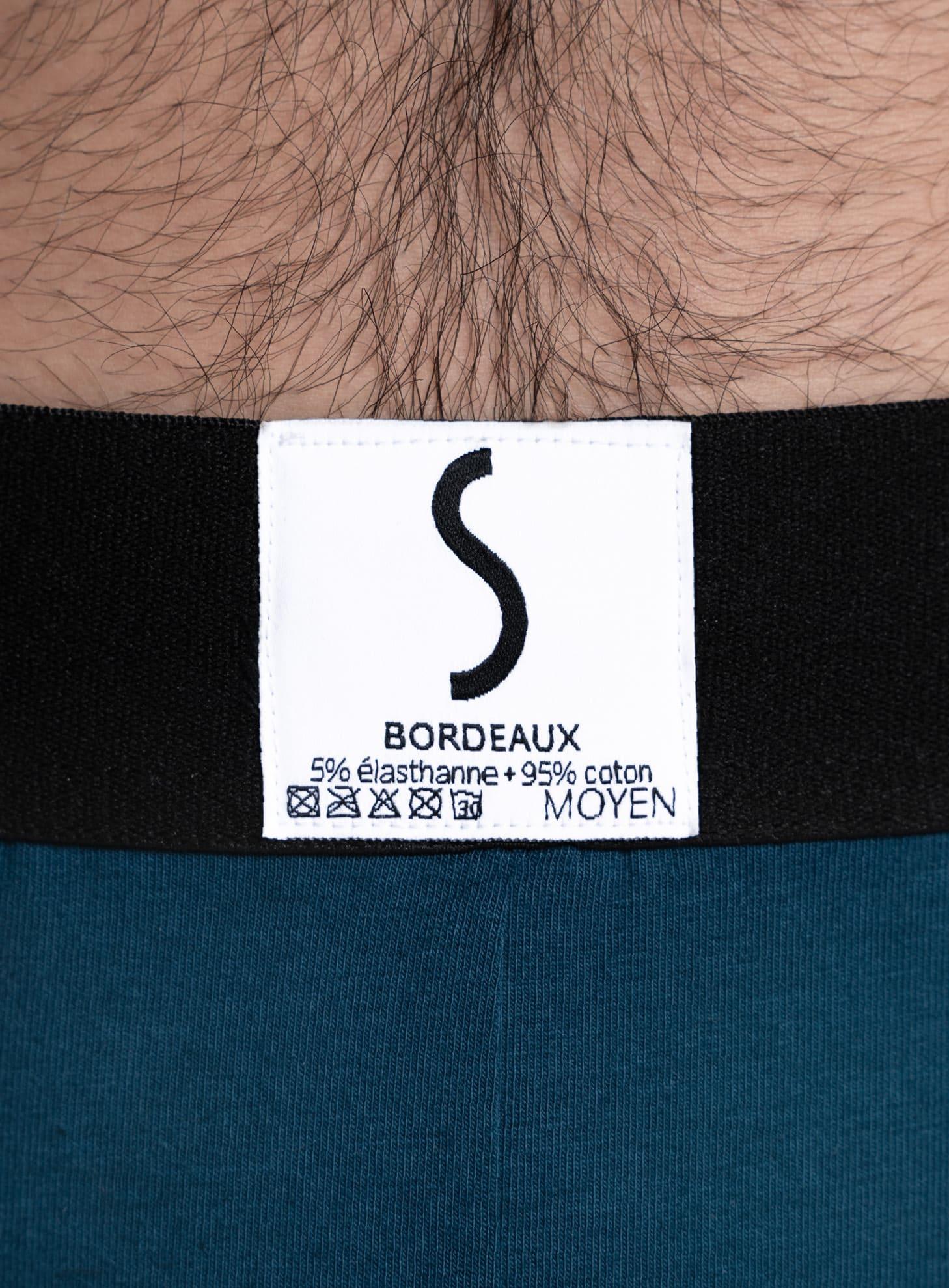 Etiquette de sous-vêtement homme S BORDEAUX