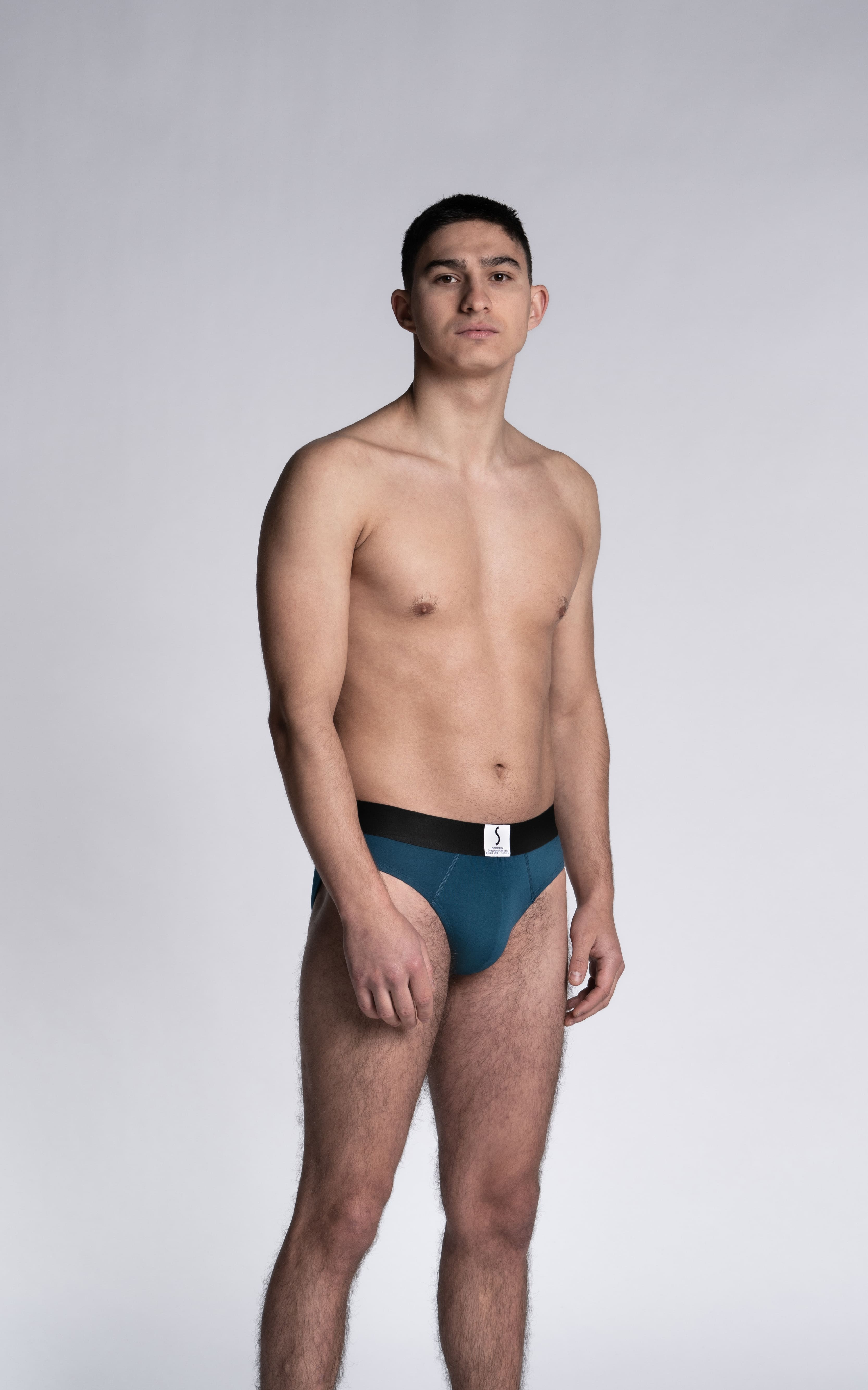 Mannequin homme portant un slip Athesans bleu marine cobalt de la marque S BORDEAUX