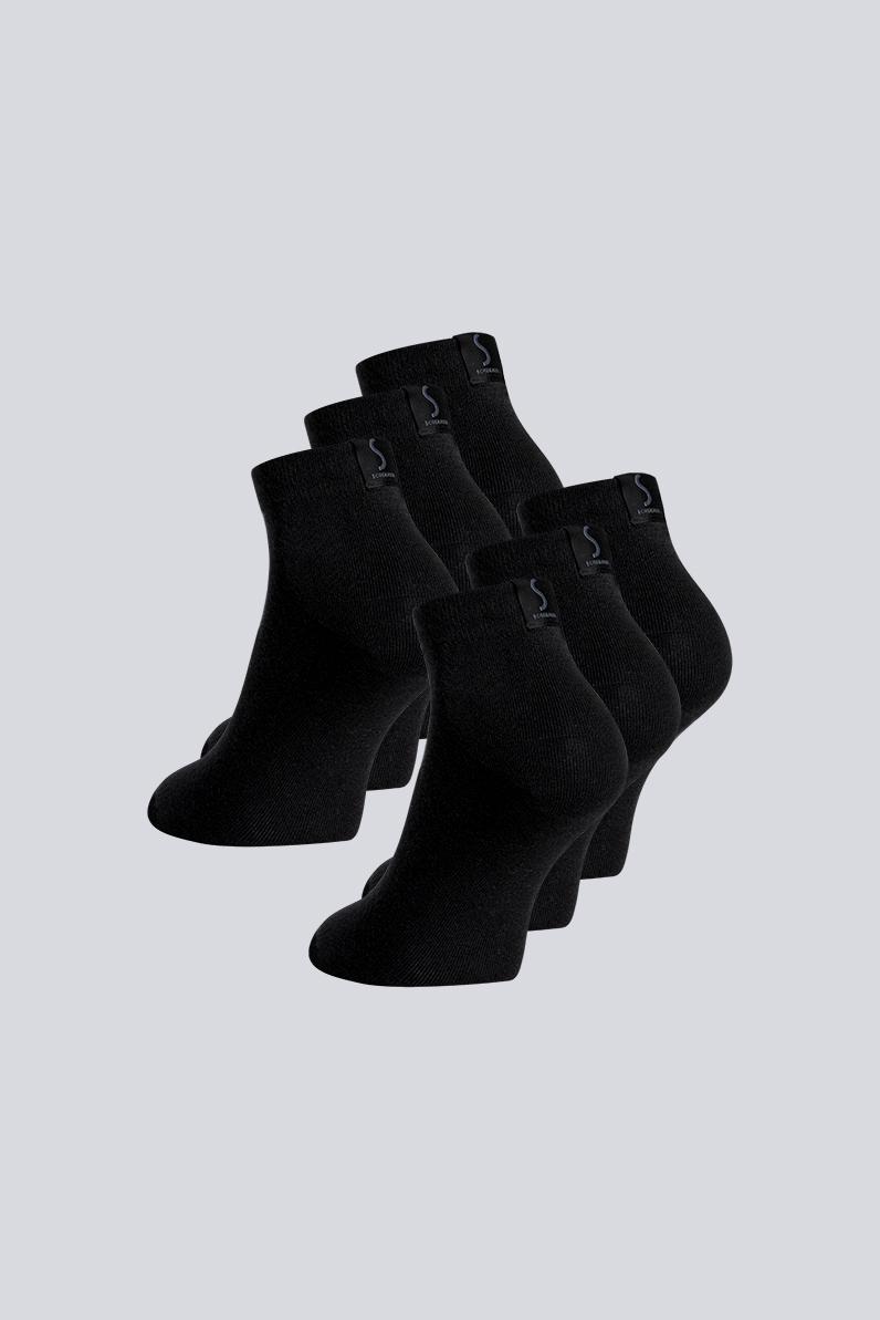 Six paires de chaussettes noires socquettes pour homme de la marque S BORDEAUX
