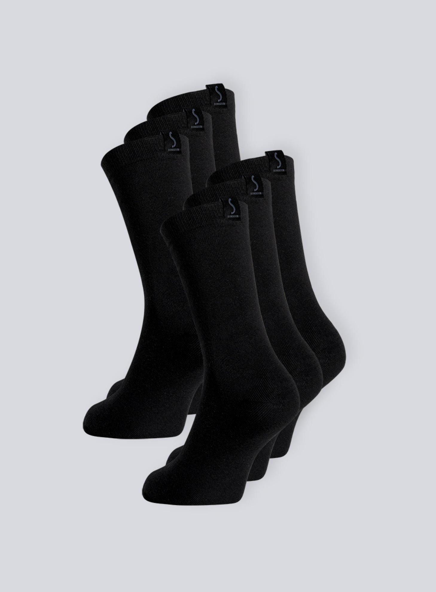 Six paires de chaussettes noirs pour homme mi-mollet de la marque S BORDEAUX
