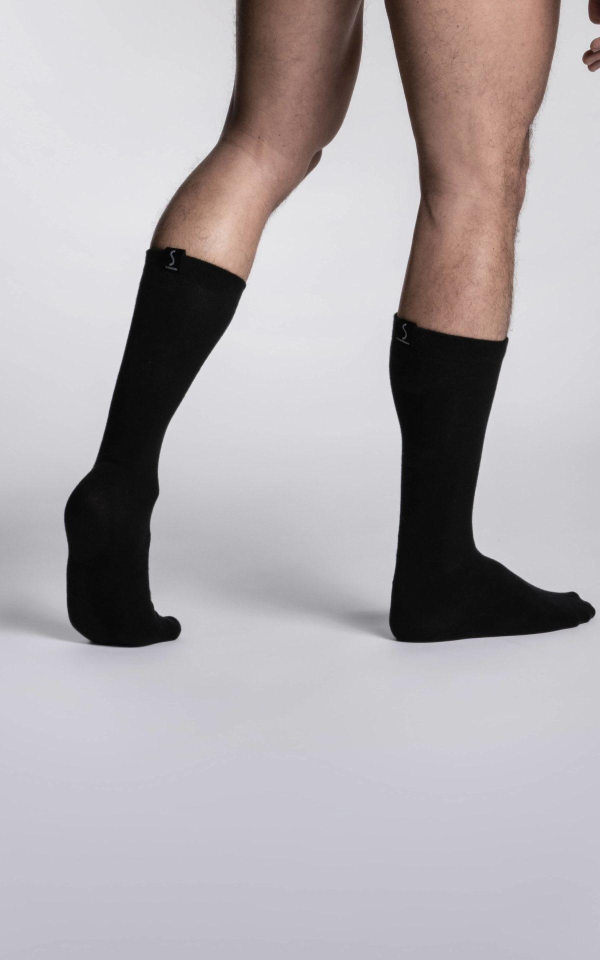Paire de chaussettes noires mi-mollet pour homme de la marque S BORDEAUX