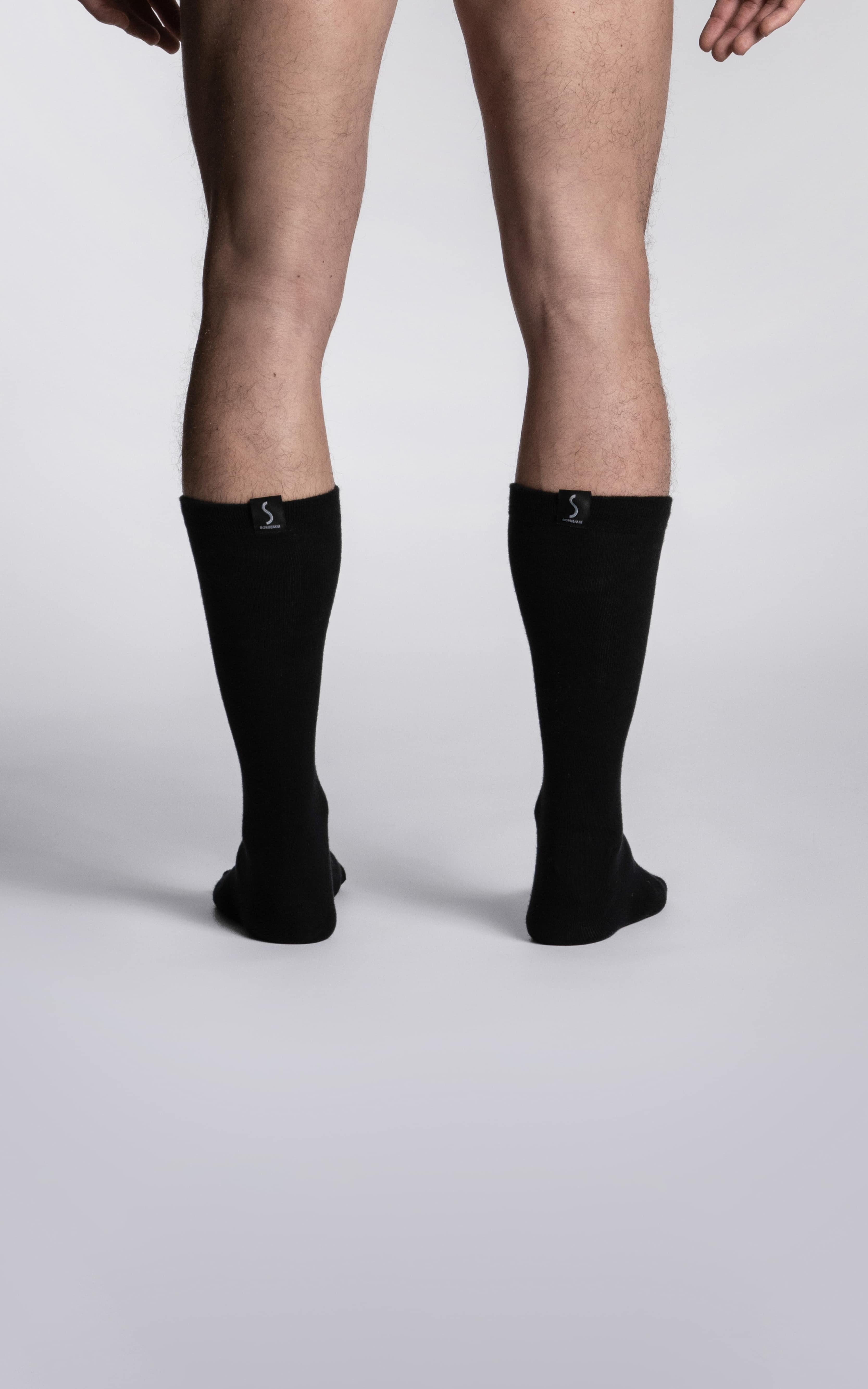 chaussettes mi-mollet noires pour homme de la marque S BORDEAUX